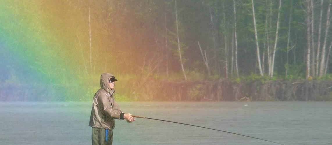 Rob Bryce fishing for rainbow on Skeena River 2013
